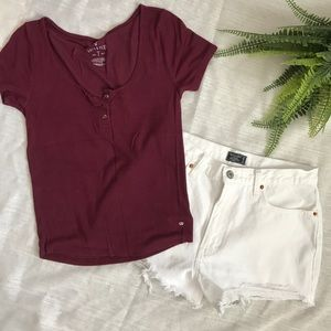 American eagle burgundy rubbed fitted crop top